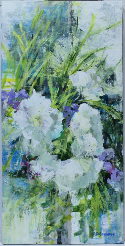 CARMEN SCHAMANN : Flores blancas y malvas 145853