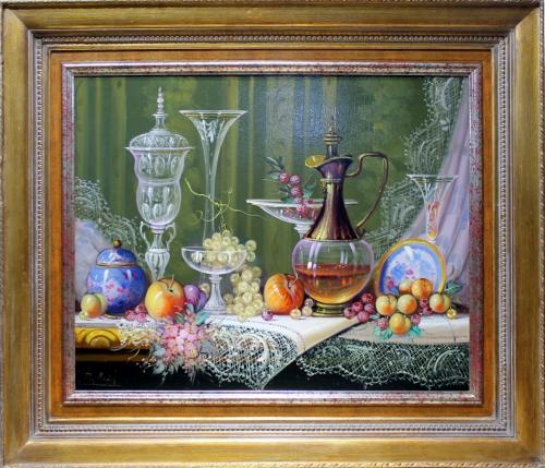 ROBERTO MICHEL. Bodegón cristales y porcelanas. Ref. 140859