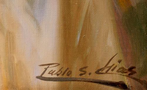 PABLO S. CHIAS : Figura con bronce y flores 145688
