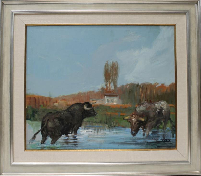 JOSE PUENTE. Toros en el rio. Ref. 143310